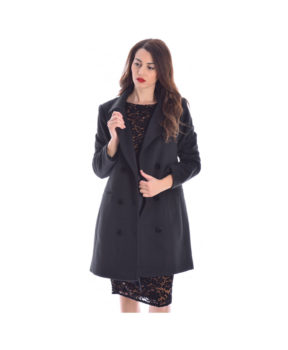 Sale! mauro black palto coat me staurwto koumpwma kai tsepes sth mesh a5de5140dd1