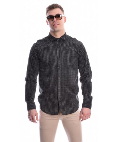 POUA POLKA DOTS MAN ITALIAN BLACK SHIRT