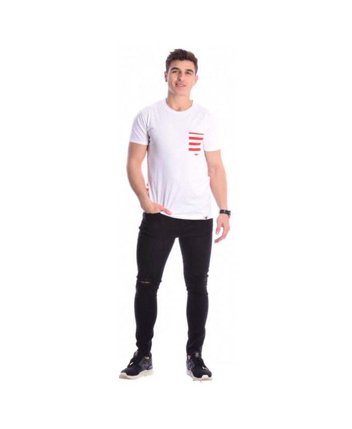 leukh kokkini white red kontomaniki longline tshirt mplouza me asumetro mhkos kalokairi 2019