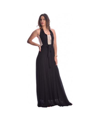 mauro black maxi dress kalokairino aneto drosero aerino moutaki 2019 ekswplato me zwnh sth mesh
