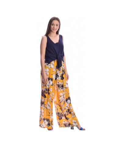 kitrini yellow kalokairini emprime floral pshlomesh pantelona me lastixo sth mesh kai tsepes sto plai desiree summer 2019