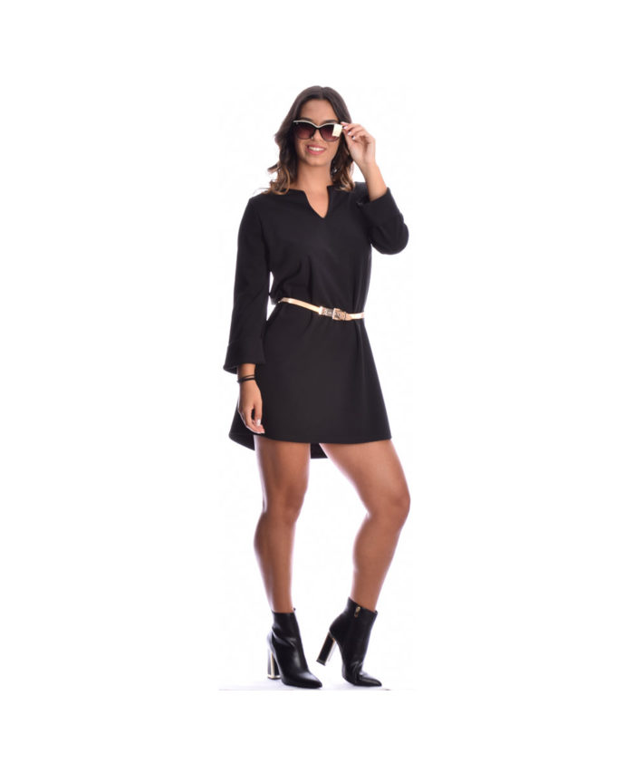 mauro black mini forema mini black dress me alfa grammh sexy mhkos kai anoigma sto stithos kai gurismena makria manikia