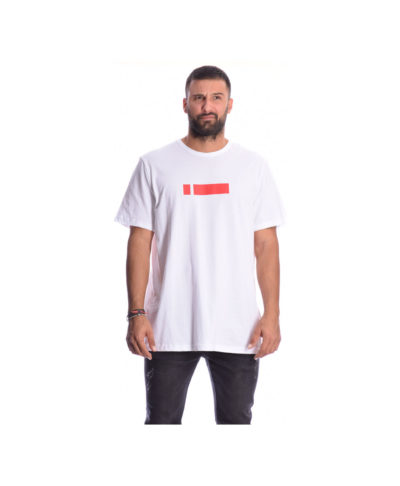 leuki white kontomaniki mplouza me kokkino red logo sto stithos i-clothing 2019 fall winter collection