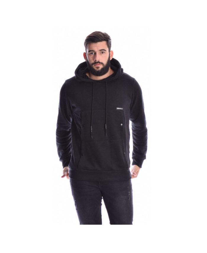 mauri black beloudini hoodie mplouza makrimaniki me koukoula tsepes kai koumpia