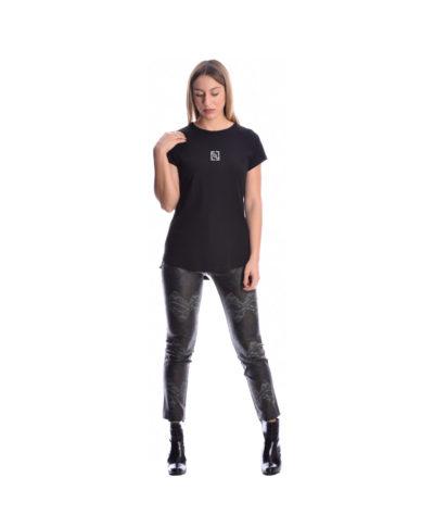 mauri black blouza me glitter kontomaniki t-shirt me stampa sto stithos