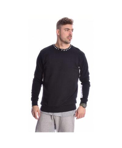 maurh black mplouza hoodie fouter me leuko sto maniki kai tupwma prophet sto laimo 2019 black hoodies