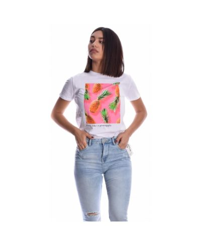 leuko white kontomaniko tshirt me ananades pineapple spring summer 2020 made in italy