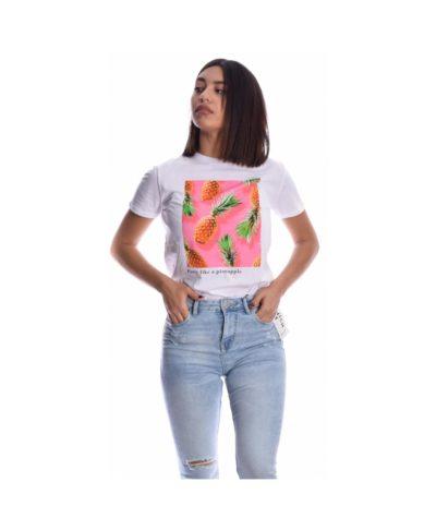 leuko white kontomaniko tshirt me ananades pineapple spring summer 2020 made in italy