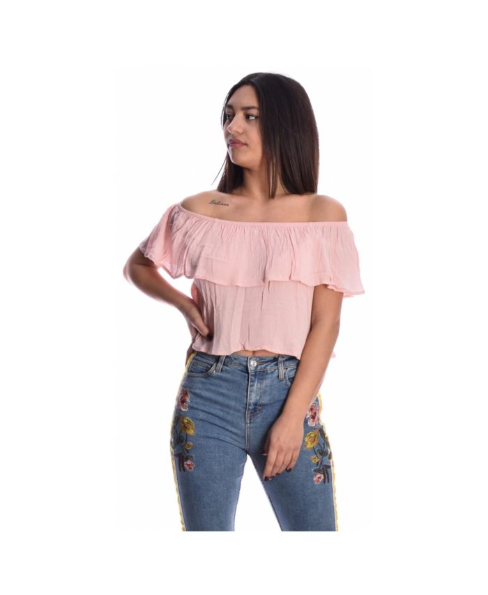 roz poudra powder baby pink strapless cropped top mplouza kalokairini alcott made in italy spring summer 2020