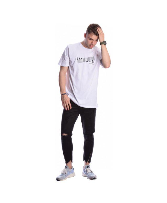 leuko white kalokairino kontomaniko t-shirt p/coc me stampa sto stithos pou fwsforizei to bradu 2020 summer kalokairi