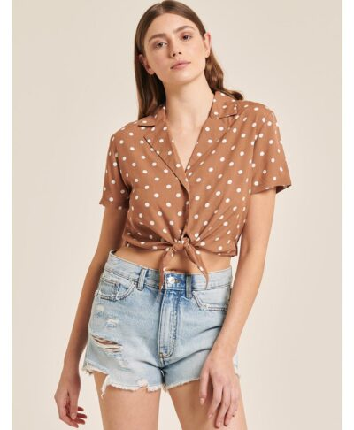 cropped top polka dots beige camelo camel tabacco 2021
