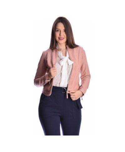 roz pink dermatini jacket italiko ginekio made in italy spring summer 2020