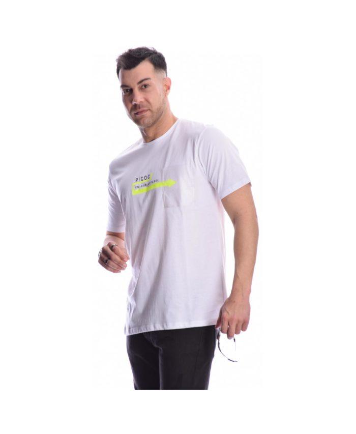 leuko white tshirt pcoc summer 2020 me stampa sto stithos kai diafano tsepaki