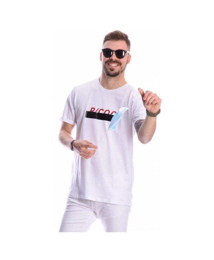 leuko kontomaniko tshirt mplouzaki pcoc spring summer 2020 me logotupo sto stithos