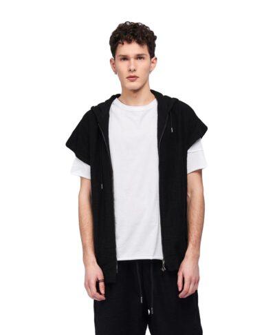 maurh black hmiamaniki kalokairini zaketa p/coc jacket vest summer 2020 me koukoula, kordoni kai fermouar