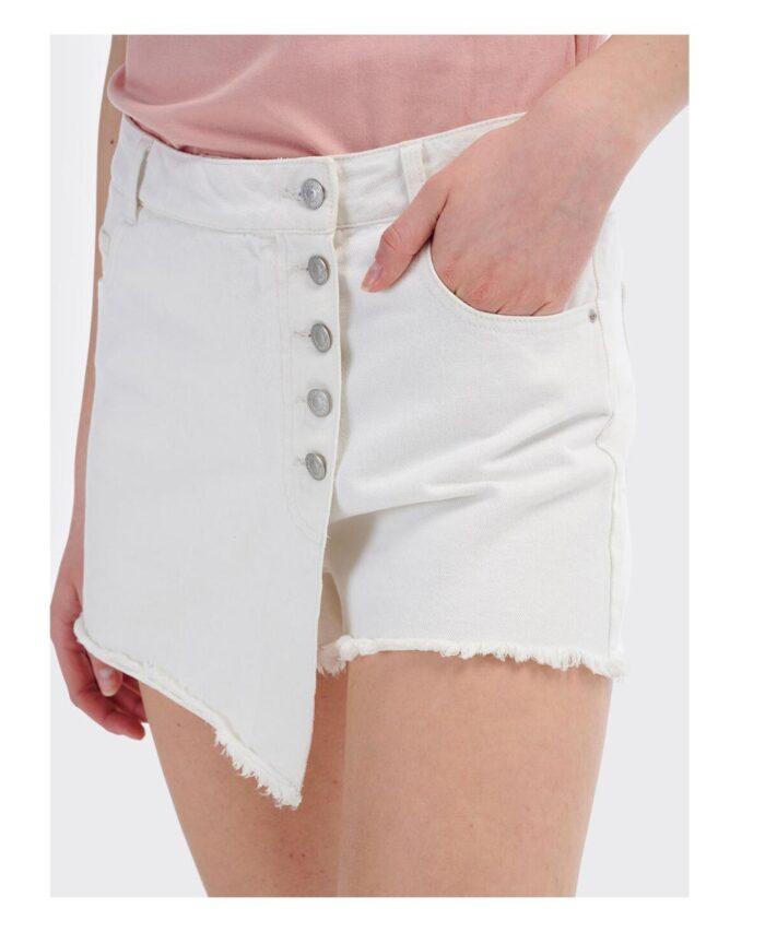 leuko white shorts italiko made in italy summer 2020 me kseftia kai fthores skafto ston kwlo kai tupou fousta sto kleisimo mprosta