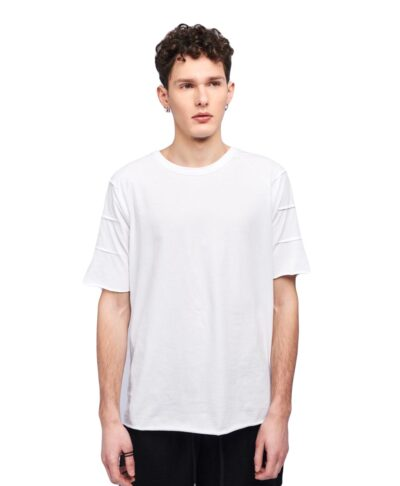 leuko white kontomaniko t-shirt me rabdwseis sta manikia ribbed cotton summer 2020 p/coc asumetrh