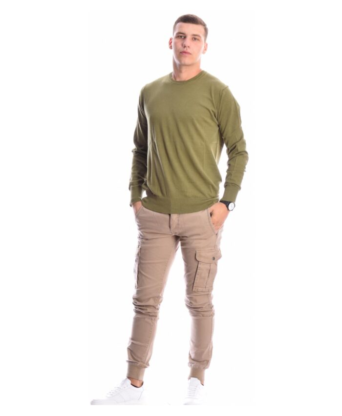 cargo jogger baggy pants made in itali beige colour mpez xrwma