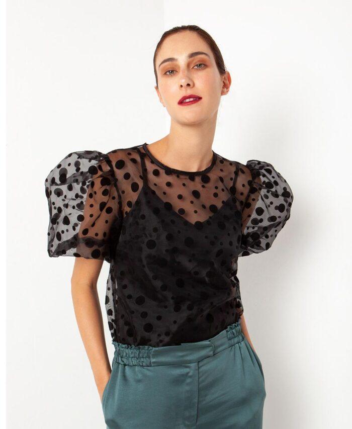 mauro black poua polka dots top me organtza see through desiree fashion 2020 fall winter