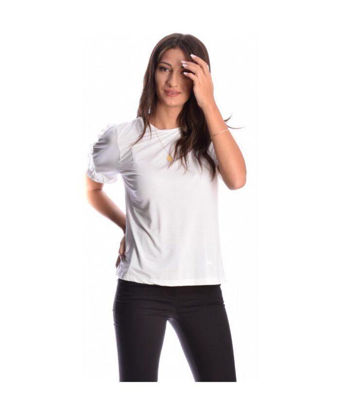 leuko white kontomaniko tshirt me volan sto maniki my t wearables 2020