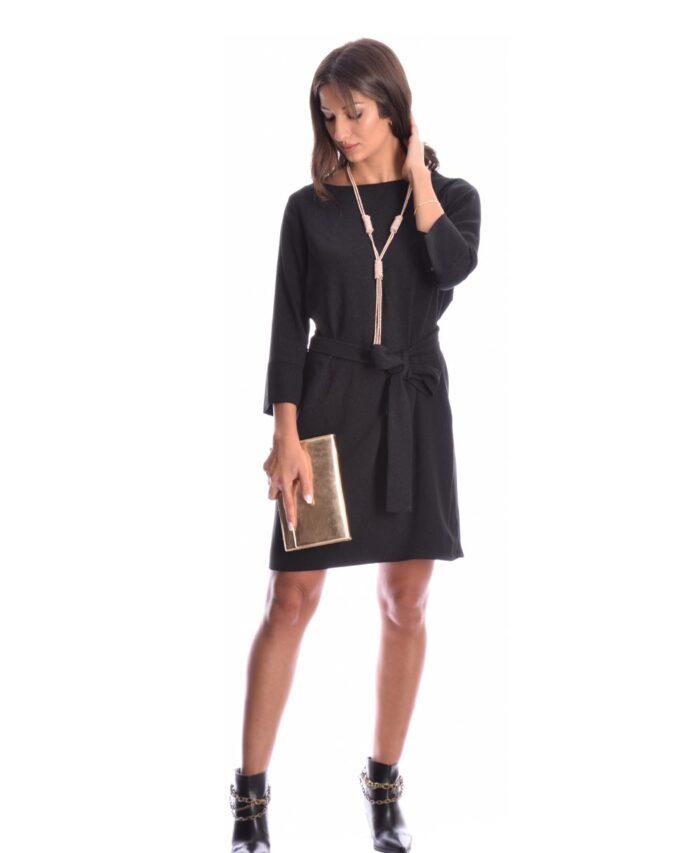 little black dress mauro black mini forema me ekrhktiko maniki 3/4 se alfa grammh me zwnh sth mesh my t wearables 2020 xeimwnas winter