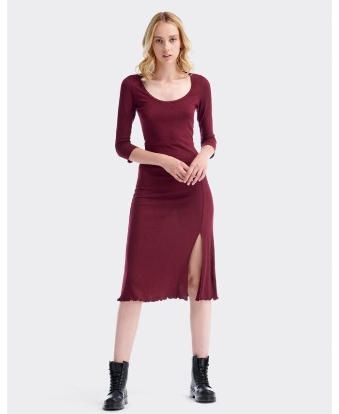 bordo bordeaux minti forema me skisimo sta podia 3/4 maniki kai stroggulh anoixth laimokopsh made in italy 2020 fall winter dresses
