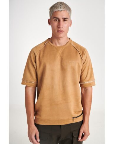 camel tabacco kamhlo kafe kontomaniki mplouza suede oversized me fermouar souet beloudini p/coc unique apparel 2020 fall winter