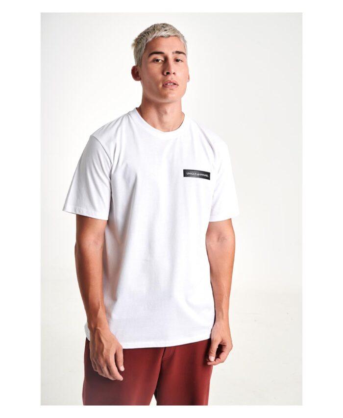 leuko white t-shirt pcoc 2020 me stampa sto sththos logotupo anaglufo