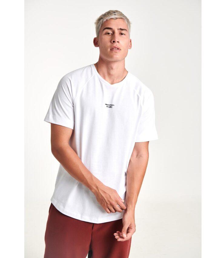 leuko white t-shirt pcoc 2020 me stampa sto stithos kai barcode stampa sthn plath pisw kai katw apo to laimo 2020