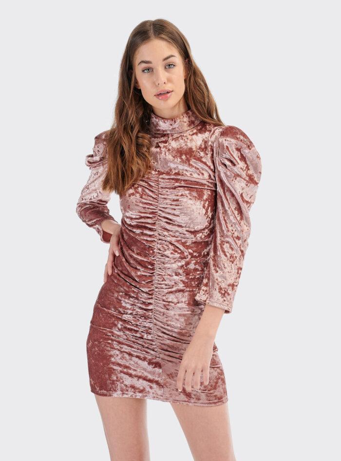 roz pink nude suede mini efarmosto elastiko italiko forema made in italy 2020 me soures 3/4 maniki kai fouskwtous wmous mini dress 2020 fall winter