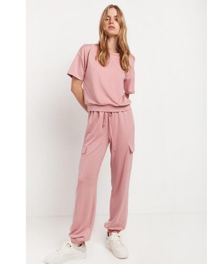 cargo pants desireee fashion spring summer 2021 me kordoni kai lastixo sth mesh kai plaines tsepes pink roz xrwma ths poudras
