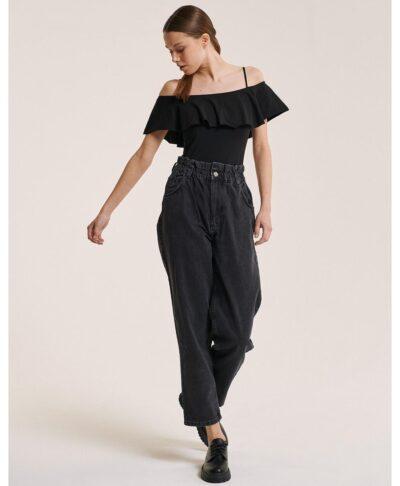 mauro black jeans italiko pshlomeso me lastixo sth mesh made in italy