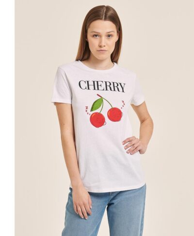 leuko kontomaniko t-shirt me kerasakia cherry made in italy