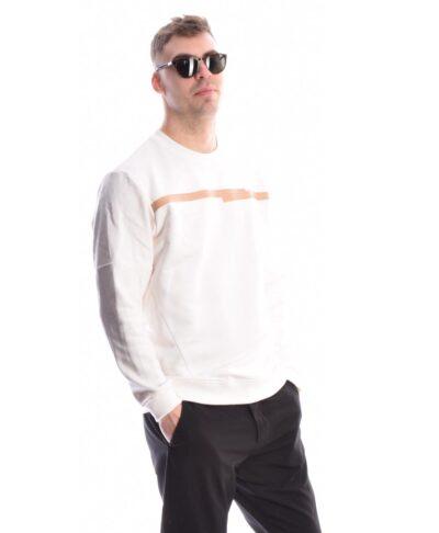 leukh white makrimaniki fouter mplouza imperial made in italy me mpez grammh sto sththos crew neck imperial fashion spring summer 2021