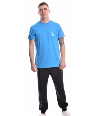 blue azzuro mple hlektrik t-shirt italiko imperial me nekrokefalh cheap monday