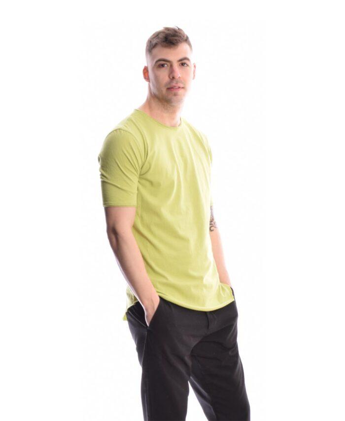 lime kontomaniko italiko t-shirt me stena efarmosta manikia kai plagia rafh sthn plath made in italy imperial fashion