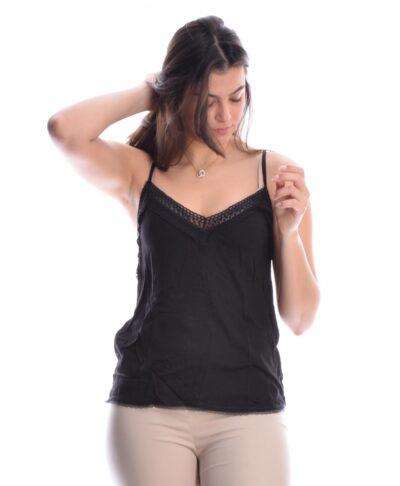 mauro black top lingerie me dantela tirantakia made in italy