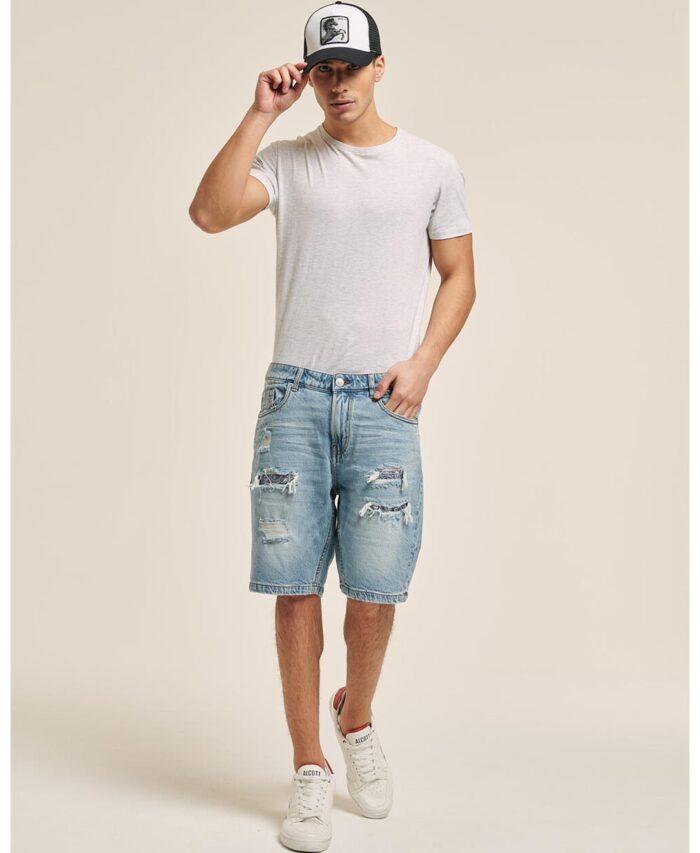 blue jeans denim antriki italiki bermouda me skisimata fthores kai mpalwmata