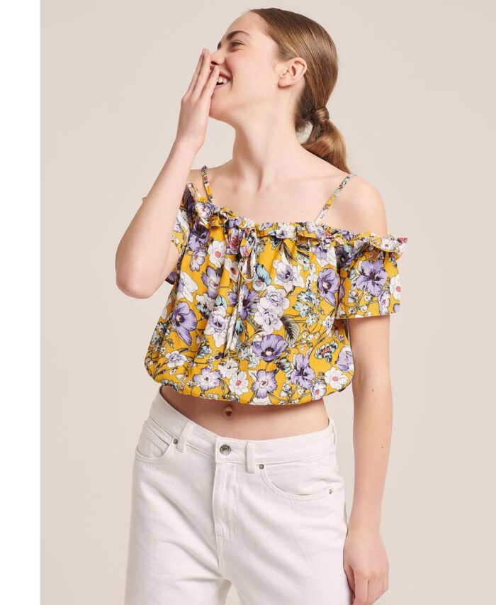 floral cropped top strapless me tirantakia made in italy