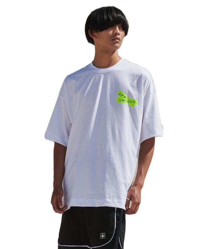 leuko white oversized t-shirt p/coc fluo aesthetikz 2021 summer