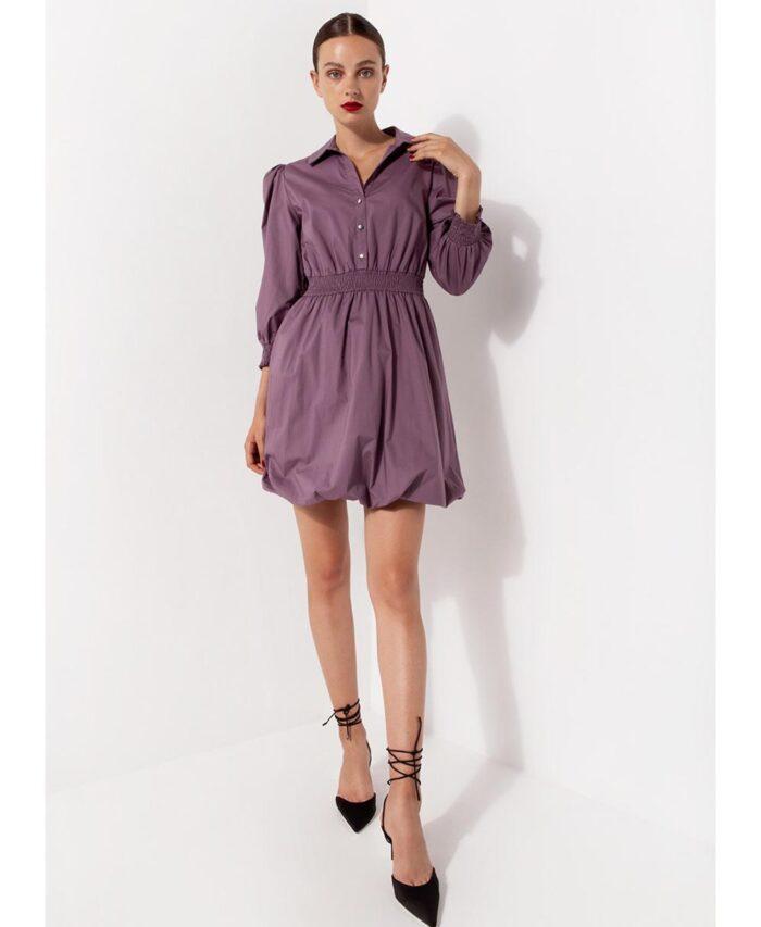 purple mini dress desiree 2021 me elastikh mesh me lastixo sfhkofolias sth mesh kai stous karpous kai kleisimo me koumpia mprosta