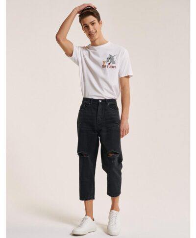 mauro black cropped jeans made in italy 2021