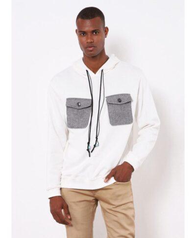 hoody white hoodie me koukoula kai kotle gkri tsepes sto stithos made in italy fall winter 2021 imperial fashion