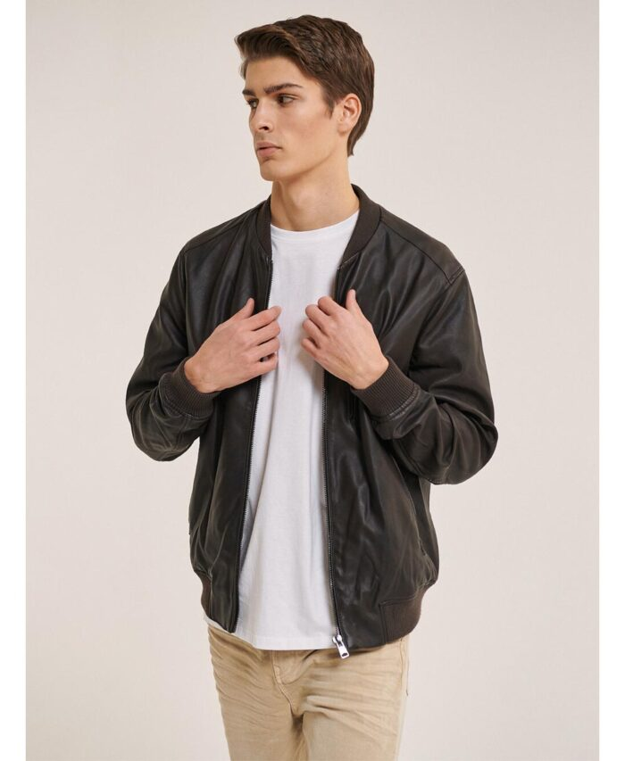 brown leather jacket tabacco made in italy