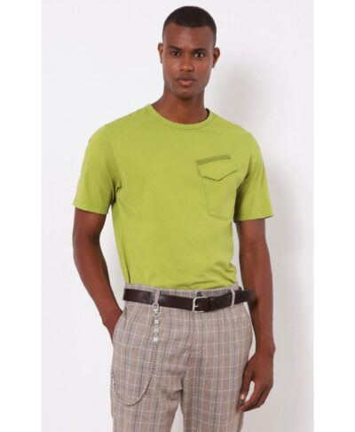 dark lime t-shirt made in italy imperial fashion pocket on chest