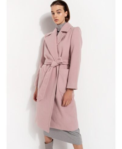 toz nude baby pink makru palto gunaikeio desiree coat me zwnh kai tsepes longline