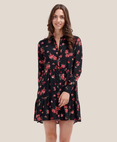 black floral mini dress chemisier me koumpia kai makru maniki me volan sta podia made in italy