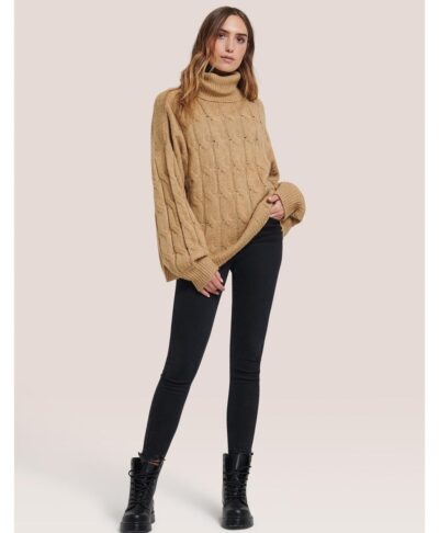 camel kamhlo xontro pullover zesto italiko tabacco zivagko turtleneck made in italy oversized comfort fit
