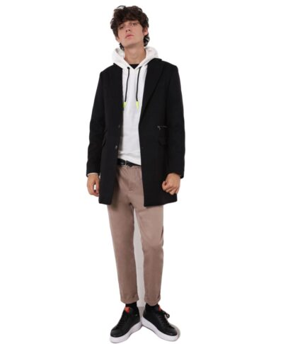 mauro black coat made in italy 2022 imperial fashion italia mauro palto makri